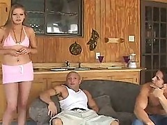 Brunette Teen in Thongs Gets A Hot MMF Threesome