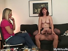 Wife watching him fucking her mom