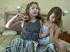 Tight ass young lezzie and her hot momma having fun in bedro...