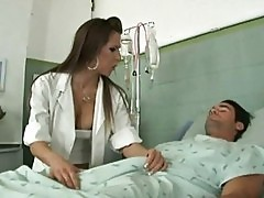 Alluring young nurse riding on top of her patients huge john...