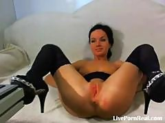 Yummy Brunette Bimbo With Small Boobies Plays With Her Sweet Pussy