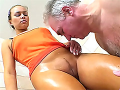 Old Man Fucks and Licks A Gorgeous Blondes Pussy In The Shower