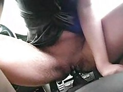 Chick fucks stick shift