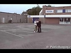 Public - public sex threesome with a pregnant woman