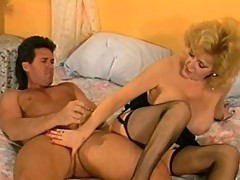 Mature blonde bitch fucks young cock
