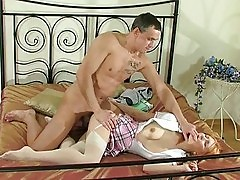 Teen suckin and fuckin a huge cock