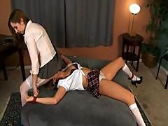 Young Brunette Schoolgirls Have A Naughty Lesson In Lesbian Face Sitting