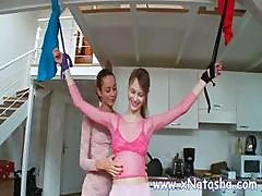 Hot Russian Mistress Plays With Her Slave Who's Tied Up In The Kitchen