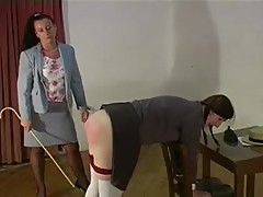 Teenage schoolgirl spanked and caned