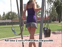 Beautiful Amateur blonde flashing in a public park