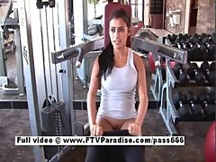 Ftv busty brunette flashing tits in the gym