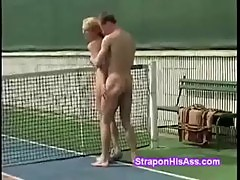 Hot petite blondie with glasses fucked at tennis court