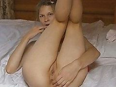 Busty girl fingering asshole