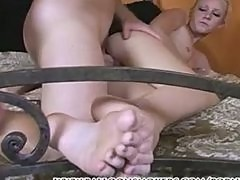 Alexia giving a foot job & getting fuked with cum on feet