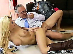 Old guy fucks younger blonde in boots and jizzes