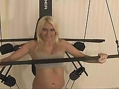 Nice Fair-haired Teen Demonstrates Her Daily Pussy Workout