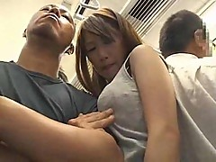 Big boobs girl sucking in a train