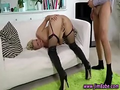 Blonde stockings slut in boots