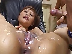 Sexy brunette gets jizz jerked off all over her pussy
