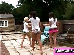 Humiliating group cfnm handjob outdoors