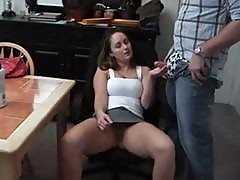 Young Brunette Girlfriend Rides His Little Cock At The Kitchen Table And Gets Licked