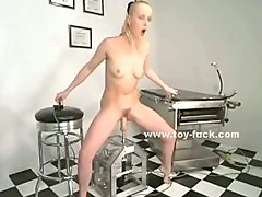 Blonde with large nipples rides and fucks big electric toys in solo masturbation video