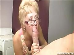 Blonde Granny Teaches Her Young Grandson The Joys Of A Blowjob
