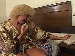 Old blond granny fucking with young
