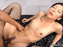 Sexy Satomi Maeono fucked on a couch