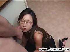 Slutty Asian Girl Jacks Off Cock For Load On Her Legs And Licks It Off