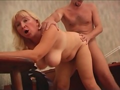 RUSSIAN MOM 20 blonde mature with 2 young men