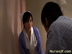 Muffdived asian young nurse