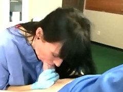 Nurse milf is sucking her patients cock and loves it