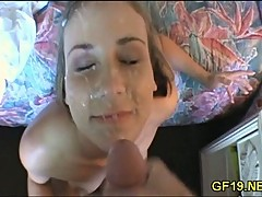 GF gets face cummed