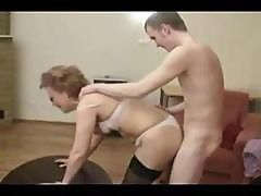 Mature Blonde Russian Mom Gets A Young Stud To Suck And Fuck Her