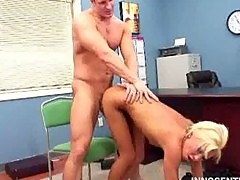 Skinny blonde Kacey spanked and fucked by the dean