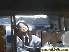 Young Asian Food Worker Gets Her Hairy Muff Fingered In The Mobile Food Van