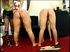Bossy Lady Paddles Two Young Girls Till Their Butts Are All Red