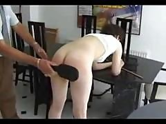 Brunette Gets Her Ass Spanked And Then Gets It Caned For Being A Bad Girl