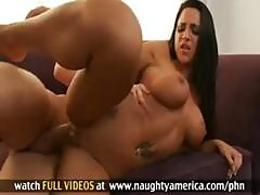 Hot Busty Brunette Gets Talked Into Some Sucking And Fucking