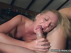 Babysitter sucking guy cock
