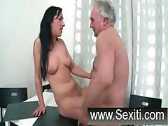 Busty Brunette Teen Gives This Old Guy Head And Lets Him Pound Her