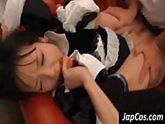Young Asian Cutie In A Maid's Uniform Gets Her Slit Fucked