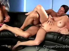 3 naughty MILFs in stockings go wild fucking lucky young dick