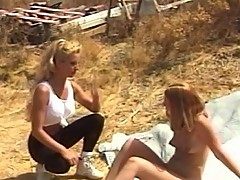 Outdoor fucking with blonde dykes