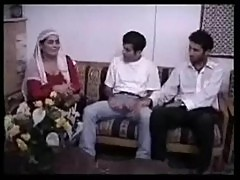 Arab aunty fucking with two young guys