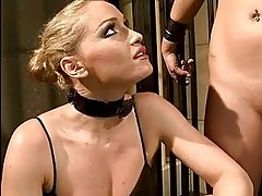 Hot mistress punishing young slavegirl