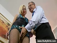 Blonde english slut sucks old mans cock