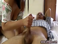 Older man in a threesome with blonde and brunette