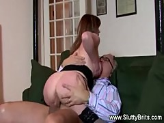 Slut gets screwed on sofa by old guy